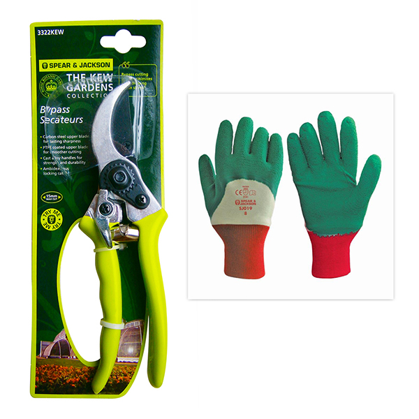 Spear and Jackson Kew Bypass Secateurs with Pruning Gloves No Colour