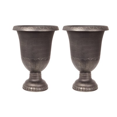 Pair of Large Gold-effect garden Urn Planters 65cm (26) tall