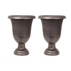 Pair of Large Gold-effect garden Urn Pla