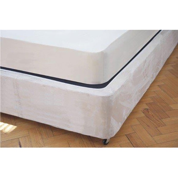 Faux Suede Divan Base Wrap Single Linen