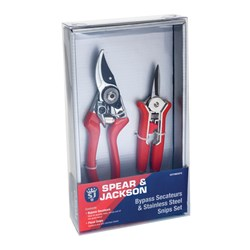 Spear and Jackson Bypass Secateurs and Snipper Set