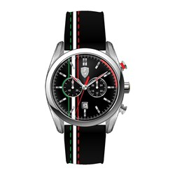 Scuderia Ferrari D50 Gents Italian Stripe Watch with Multi Dial and Leather Buckle Strap