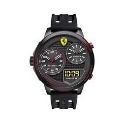 Scuderia Ferrari Gents Pinnacle Watch with Oversized Dial, Digital Display and Silicon Buckle Strap