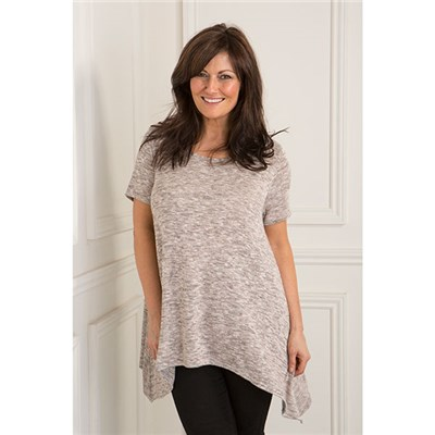 Daisy Eldridge Short Sleeve Side Dip Hem Top