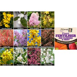 Winter Hardy Shrub Collection x 12 varieties with McDermotts Finest Fertiliser 50g