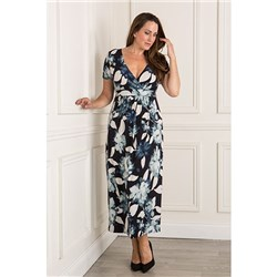 Styled By Wrap Front Print Maxi Dress