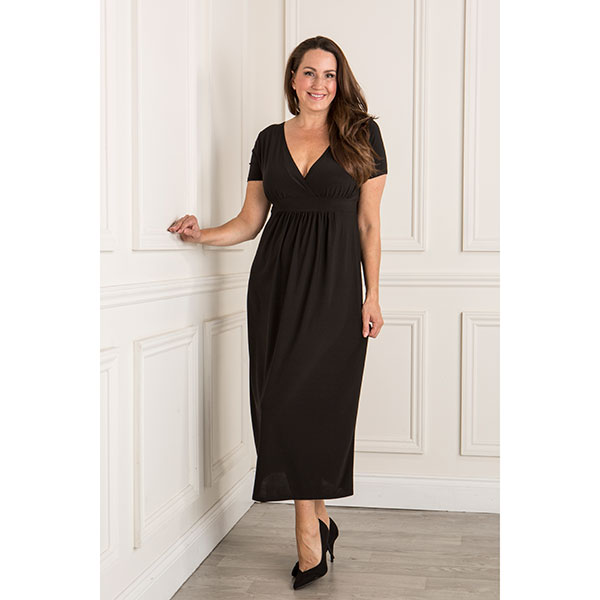 Styled By Wrap Front Plain Maxi Dress Black
