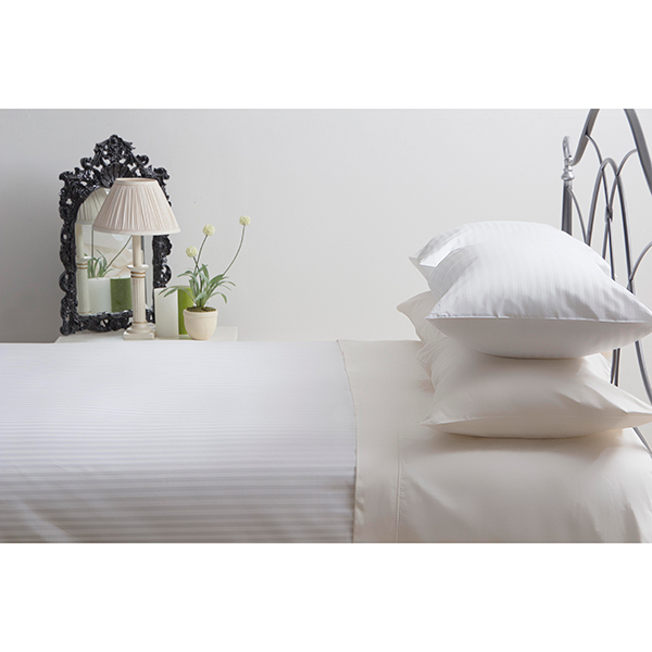 Belledorm Hotel Suite Double T540 Cotton Satin Stripe Duvet Cover White