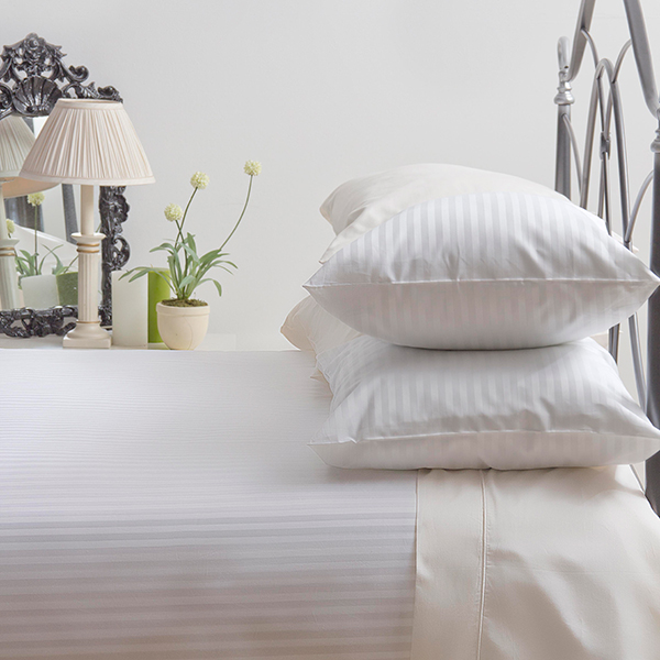 Cotton Satin Stripe Pillowcases White