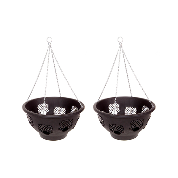 Pair of 15inch Easy Fill Hanging Baskets with 8 Gates No Colour