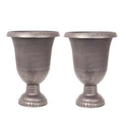 Pair Brushed Champagne Urn Planters 57cm (23 inches) Tall