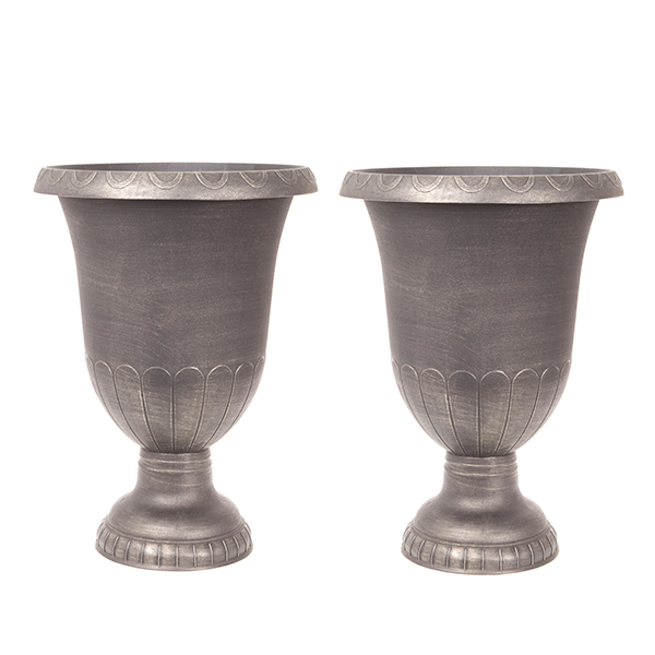 Pair Brushed Champagne Urn Planters 57cm (23 inches) Tall No Colour