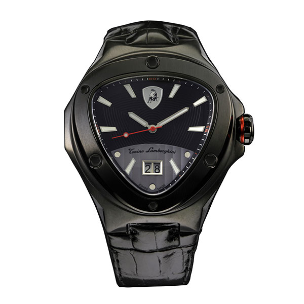 Tonino Lamborghini Spyder 3000 Swiss Quartz Watch with PVD Plating and Genuine Leather Strap Black