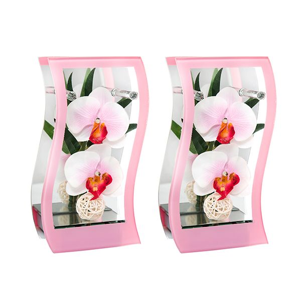 Pair of Wave Glass Floral with LED Lights Orchid White