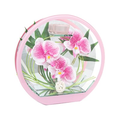 Large Circular Glass Floral with Lights
