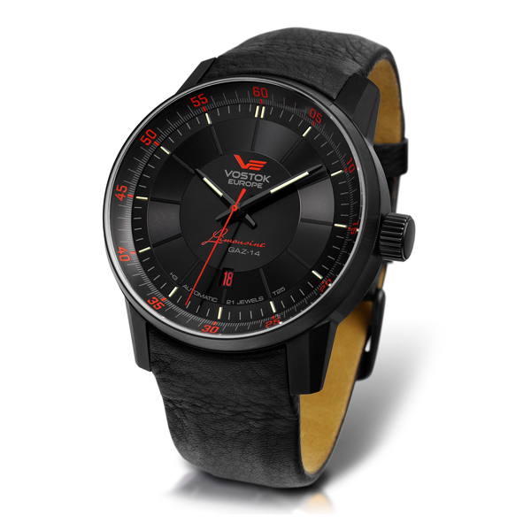 Vostok Europe Gents Limited Edition Gaz 14 Limo Automatic Watch with Leather Strap Black