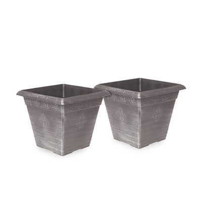 Pair of 40cm 'Medley' Square Silver Planters
