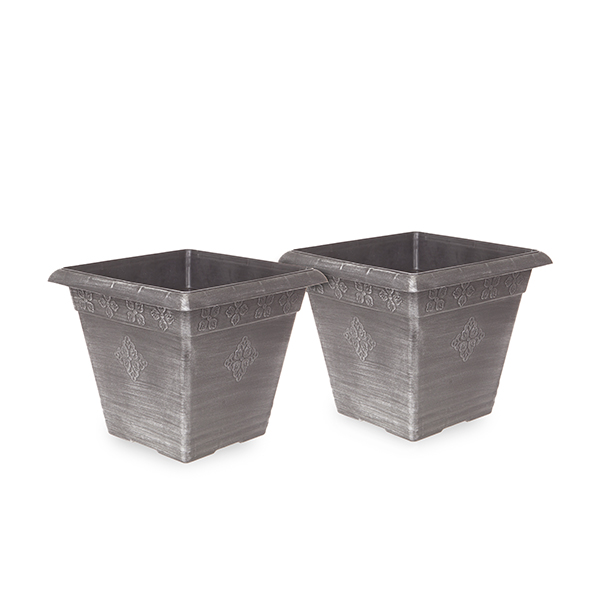 Pair Medley Square Planters 40cm Silver No Colour