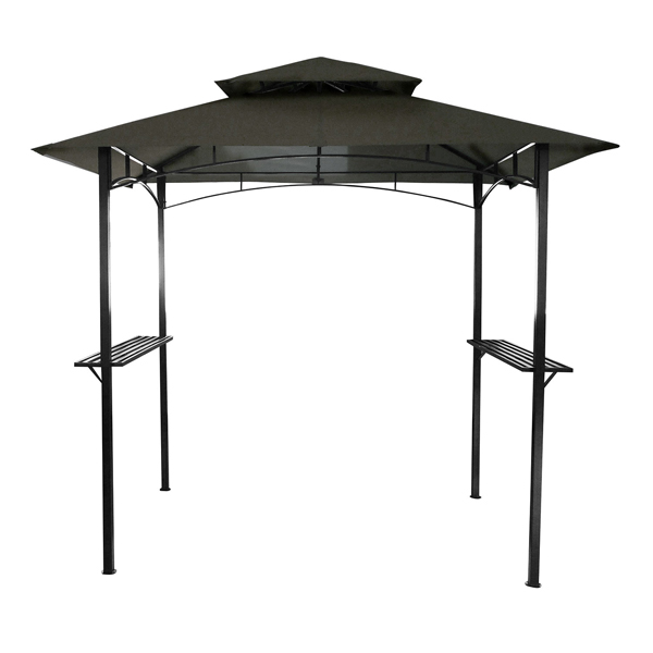 Charles Bentley 8 X 5Ft Steel Grill BBQ Gazebo Outdoor Tent Shelter Grey 1