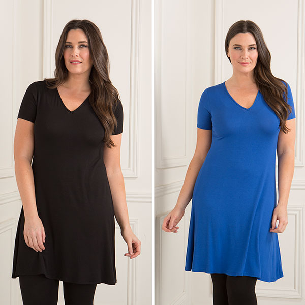 Nicole Two Pack V-Neck Jersey Dresses Black/Cobalt