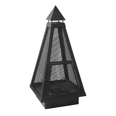 Charles Bentley Over 1M Tall Black Steel Mesh Large Pyramid Chimenea Fire Pit Patio Heater