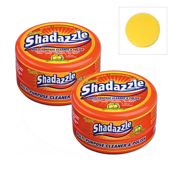 Two Tubs of Shadazzle Natural Cleaner with Additional Applicator No Colour