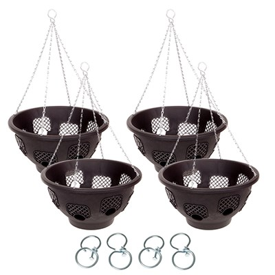 Set of 4 x 15inch 8-hole Easy Fill Baskets with 4 Easy Turn Hooks