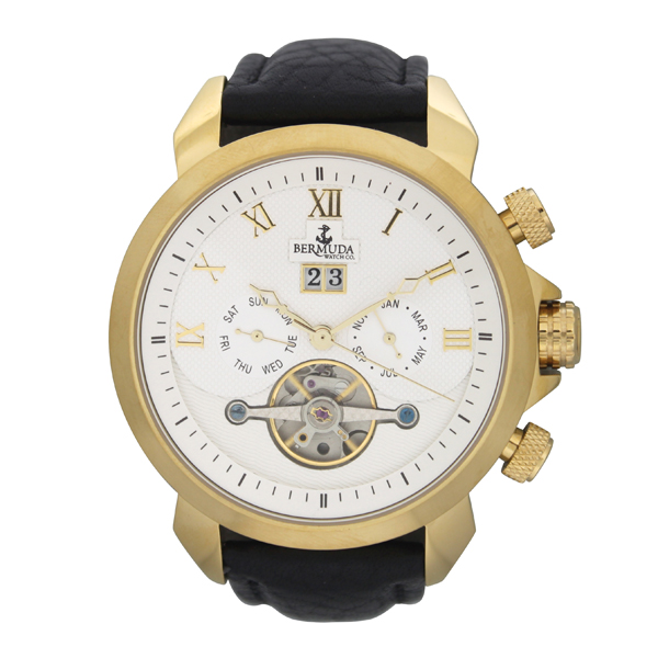 Bermuda Gents Automatic Watch with Open Heart and Leather Strap Gold