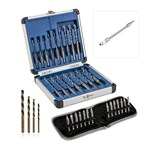 16pc Drill All Drill Bit Set, 14pc Screwdriver Bits, Reverse Action Twist Drill Bits and FREE Flexi Snake Drive