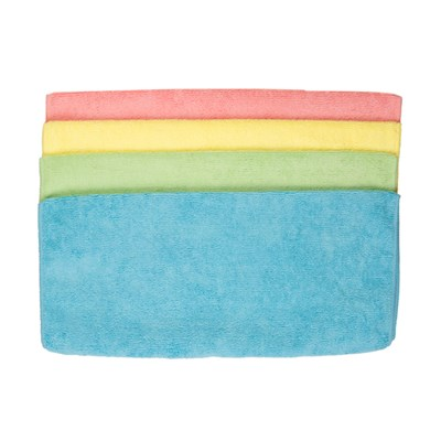 Pack of 4 Microfibre Cloths Assorted Colours