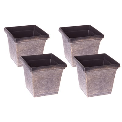 Set of 4 x 19cm Square Metallic Finish Planters
