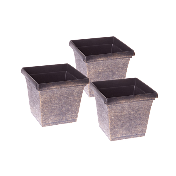 Set of 3 x 19cm Square Metallic Look Planters No Colour