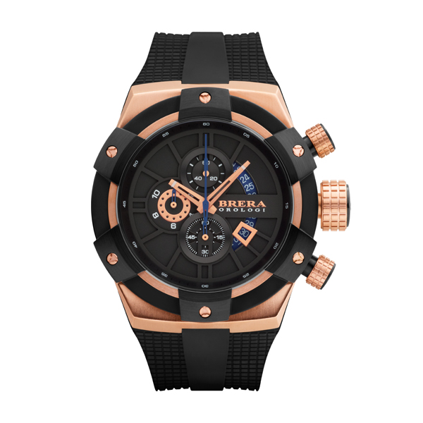 Brera Orologi Gents Supersportivo Chronograph Watch with Silicon Strap Rose Gold