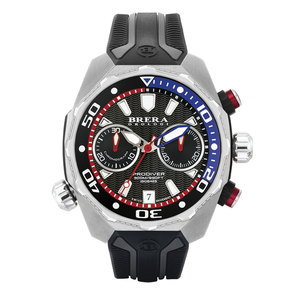Brera Orologi Gents Pro Diver Chronograph Watch with Silicon Strap Black