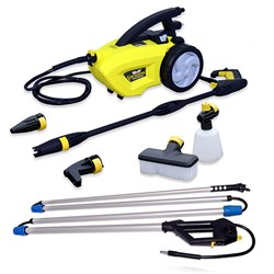 Wolf Mighty Sky Blaster Pressure Washer with Car Brush, Vario Nozzle, Angled Nozzle, Foaming Bottle, Turbo Nozzle, Sky Reacher Lance and 6m Hose