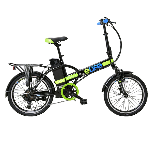 E-Life Natural 6sp 36v 250w Electric Fully Folding Bike 20inch Wheel Black