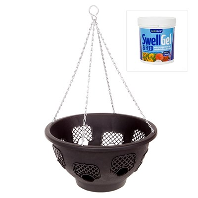 Pack of 4 38cm (15in) Easy Fill Hanging Baskets with 8 Gates Baskets and 500g Garden Boost Swell Gel and Feed