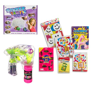 Kids Rainy Day Toy Bundle - Childrens Craft Kit, Sticker Tastic and Bubble Gun