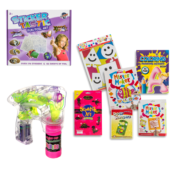 Kids Rainy Day Toy Bundle - Childrens Craft Kit, Sticker Tastic and Bubble Gun No Colour