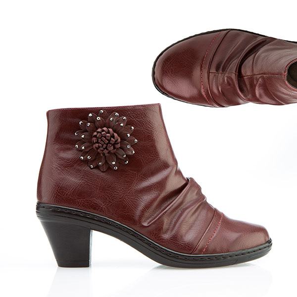 Cushion Walk Corsage Detail Ankle Boot Wine