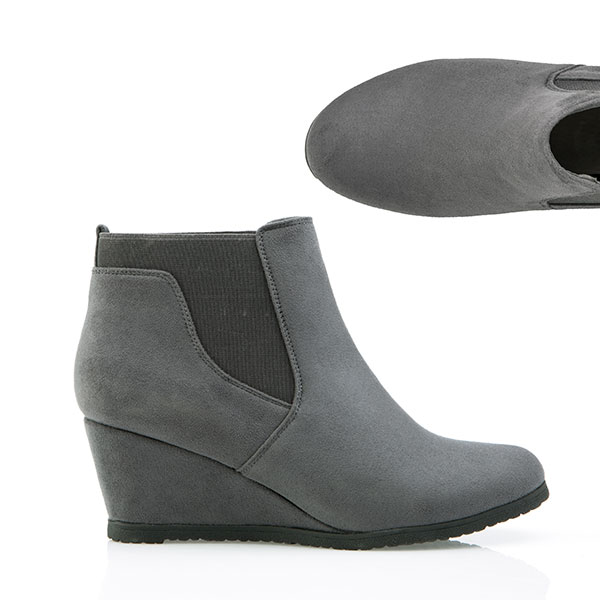 Cushion Walk Suedette Wedge Ankle Boot Grey