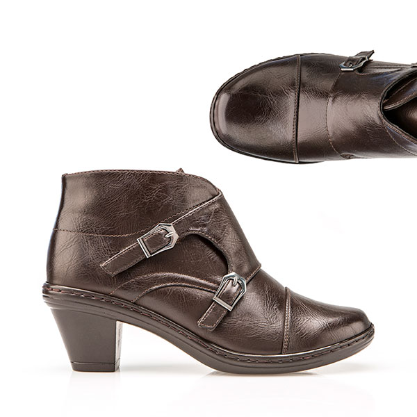 Cushion Walk Buckle Touch And Close Ankle Boot Brown