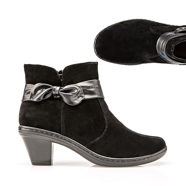 Cushion Walk Suedette Heeled Ankle Boot Black