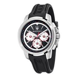 Maserati Gents Sfida Chronograph Watch with Crown Protector and Silicone Strap