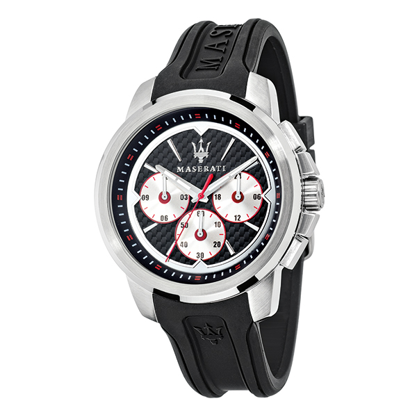 Maserati Gents Sfida Chronograph Watch with Crown Protector and Silicone Strap Red