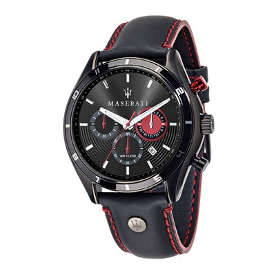 Maserati Gents Sorpasso Chronograph Watch with Contrast Stitch Leather Strap