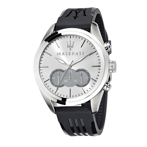 Maserati Gents Traguardo Chronograph Watch with Silicone Strap Silver