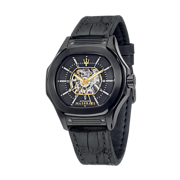 Maserati Gents Fuoriclasse Automatic Watch with Leather Strap Black