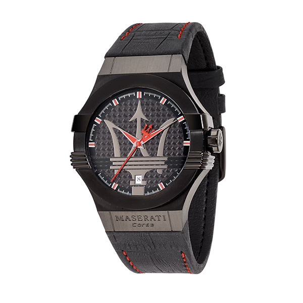 Maserati Gents Potenza Watch with Contrast Stitch Leather Strap Black