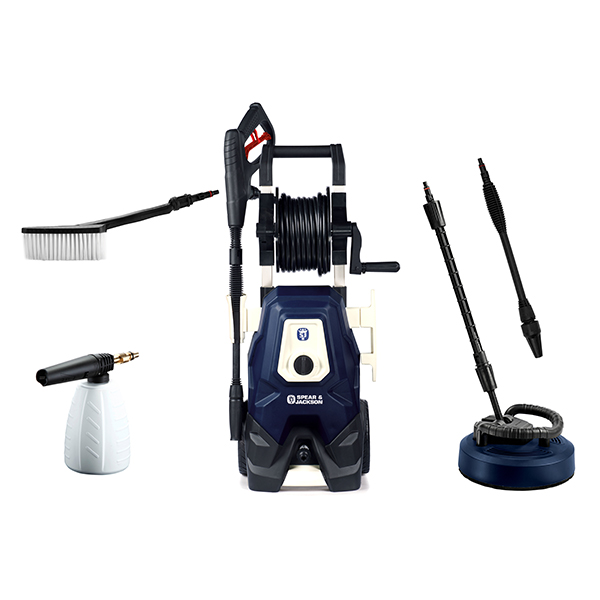 Image of Spear and Jackson 2000w Pressure Washer with Turbo Lance, Vario Lance, Patio Cleaner, Super Foamer, Wash Brush and 3 Year Warranty Upon Regi 370609